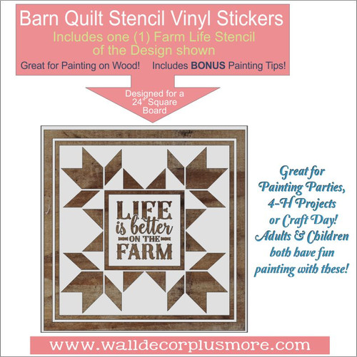 Barn Quilt Life Is Better On The Farm Stencil Wood Farmhouse Decor DIY