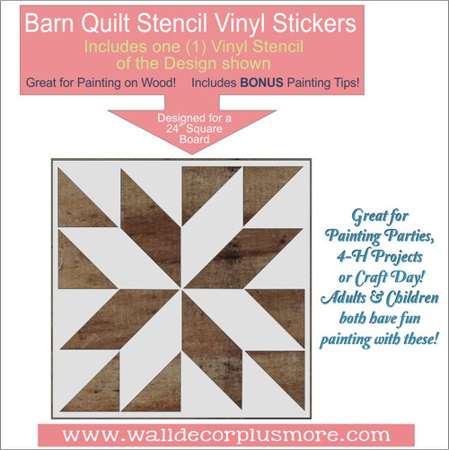 Barn Quilt Stencil Art DIY Wood Home Decor Farmhouse Vinyl Stickers