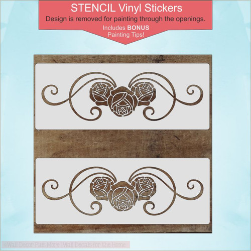Rose Floral Swirl Pattern Stencil Vinyl Stickers Wall Art DIY Wood Decor, Set of 2