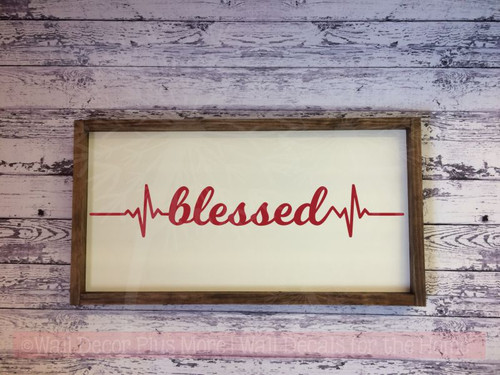 Blessed Heartbeat Nurse Decor Wall Art Decals Vinyl Lettering Stickers-Red
