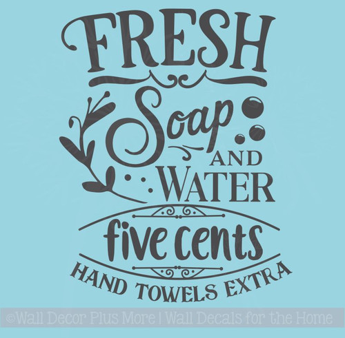 Soap Water 5 Cents Vinyl Letters Decals Wall Stickers for Home Decor