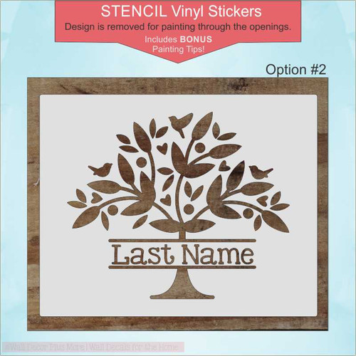 Option 2 -Family Tree Stencil Vinyl Art Decals Wall Stickers DIY Wood Home Decor