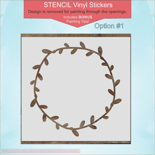 Option 1 -Laurel Wreath Stencil Vinyl Art Stickers DIY Home Decor Wall Decals