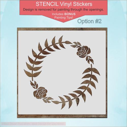 Option 2 -Laurel Wreath Stencil Vinyl Art Stickers DIY Home Decor Wall Decals