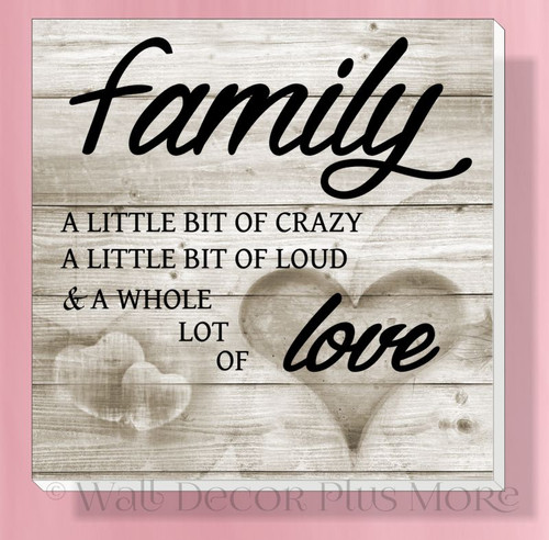 Family Whole Lot of Love Canvas Print Ready to Hang Wall Art Decor
