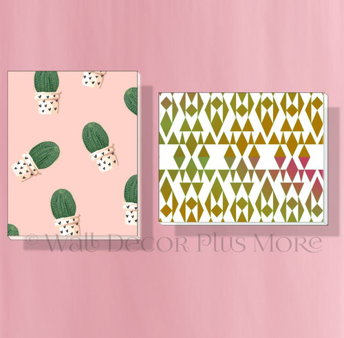 Geometric Cactus Set of 2 Modern Art Canvas Prints for Girls Bedroom Decor
