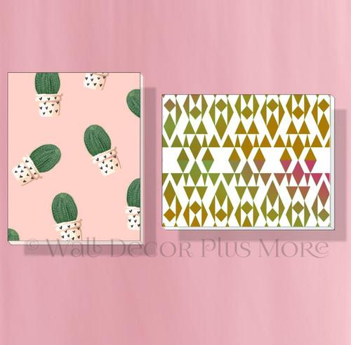 Geometric Cactus Set of 2 Modern Art Canvas Prints for Girls Bedroom Decor