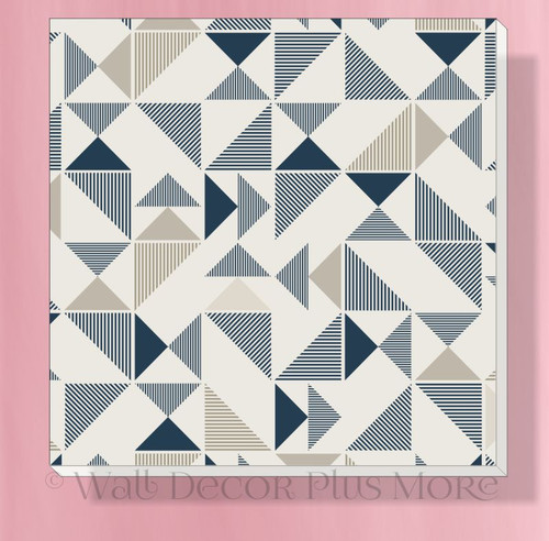 Geometric Triangles Canvas Prints Boys Bedroom Ready to Hang Decor