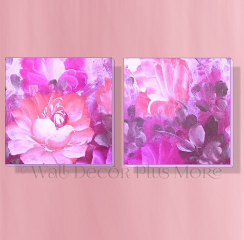 Pink Watercolor Flowers Set of 2 Canvas Prints Girls Bedroom Wall Art Decor