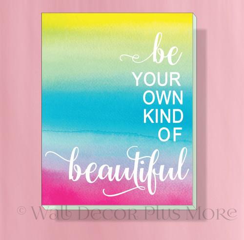 Be Beautiful 11x14 Motivational Canvas Print Girl Bedroom Wall Decor