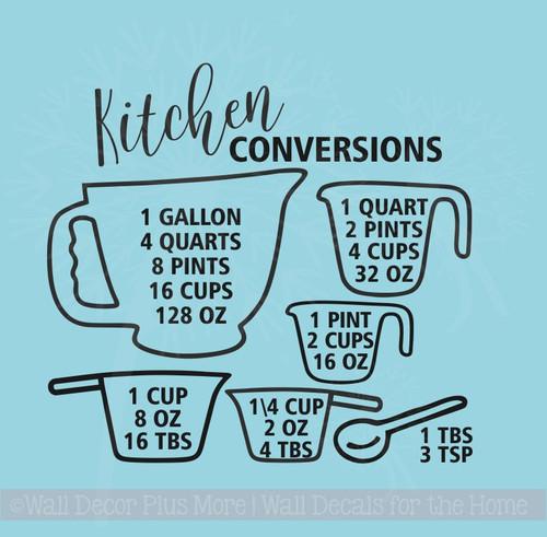 Kitchen Conversion Chart Kitchen Wall Stickers Vinyl Decals Home Decor