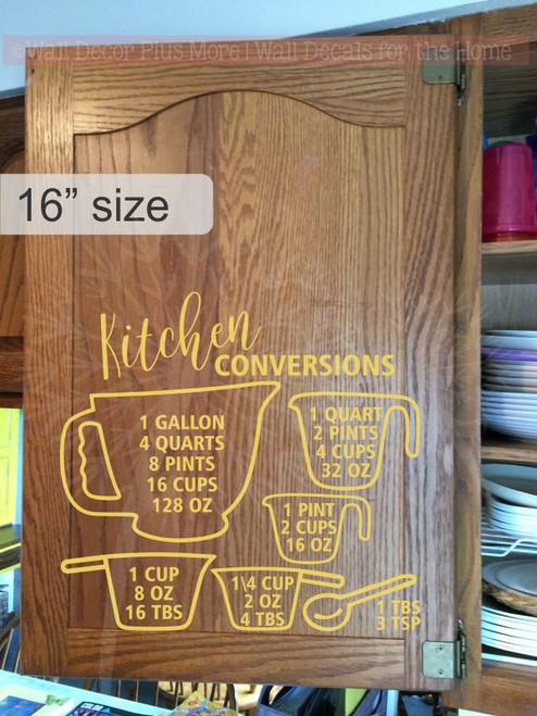 Kitchen Conversion Chart Kitchen Wall Stickers Vinyl Decals Home Decor-Buttercream