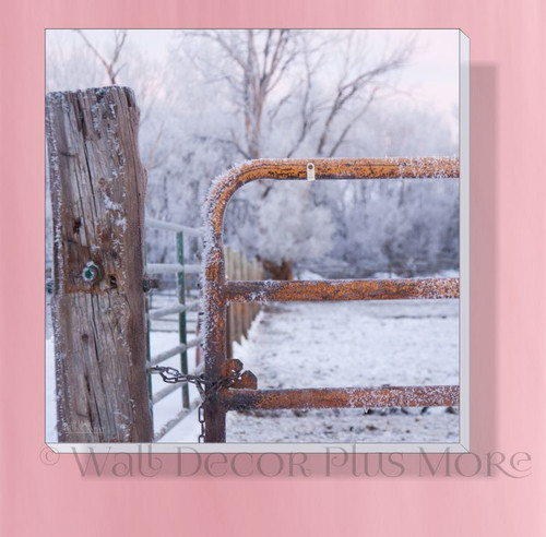 Snowy Gate 12x12 Canvas Wall Print for Farmhouse Décor Easy to Hang Wall Art