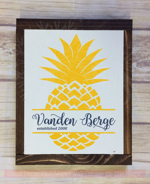 Pineapple Last Name Est Monogram Vinyl Letter Decals Wall Art Stickers-Mustard, Deep Blue