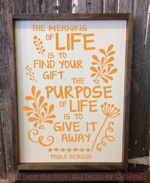 Meaning Of Life Motivational Vinyl Sticker Quotes Inspire Wall Art Decals-Rust
