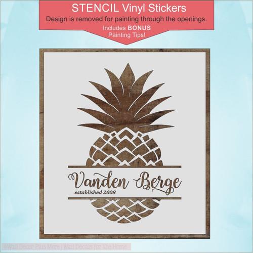 Stencil Monogram Pineapple DIY Vinyl Sticker for Wood Decor Wall Hanging