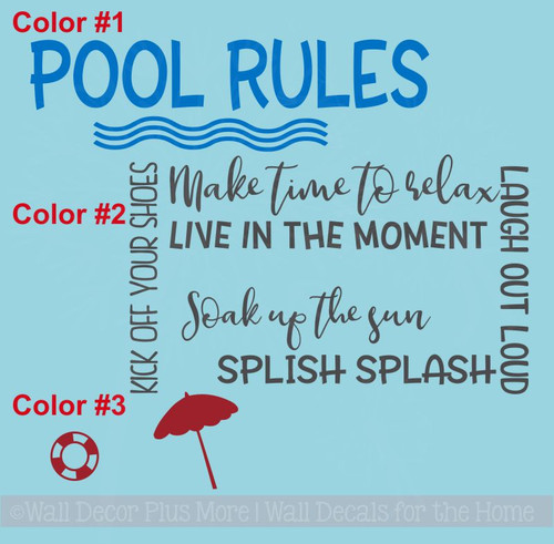 Pool Rules Vinyl Lettering Stickers Wall Art Decals Summer