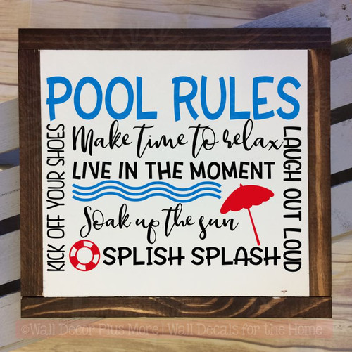 Pool Rules Vinyl Lettering Stickers Wall Art Decals Summer Quotes-Traffic Blue, Black, Cherry Red