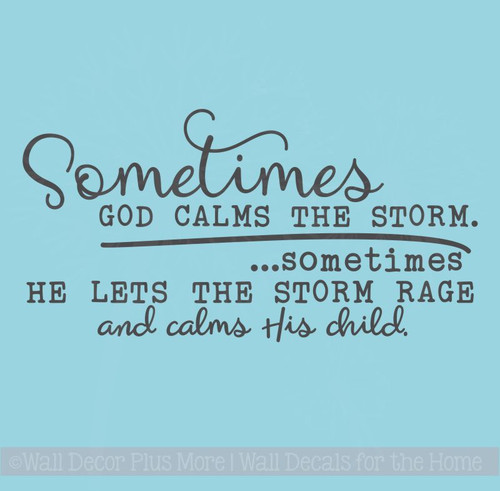 God Calms Storm Vinyl Lettering Decals Religious Wall Sticker Quotes