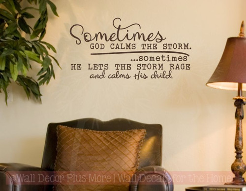 God Calms Storm Vinyl Lettering Decals Religious Wall Sticker Quotes-Chocolate Brown