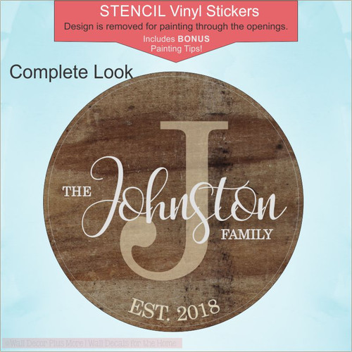 Personalized Family Est DIY 18in Round Stencil Vinyl Stickers for Wood