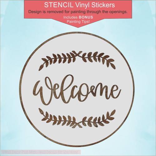 Welcome Lettering Laurels 18in Stencil Sticker for DIY Wood Project