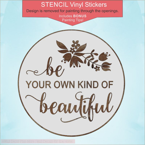 Own Kind Of Beautiful Girls 18in Round Stencil Stickers for Wood Signs