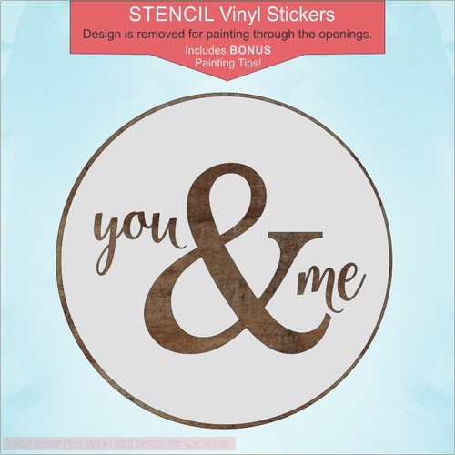 You & Me Stencil Stickers for Painting Wedding Gift DIY Sign 18-Inch Round