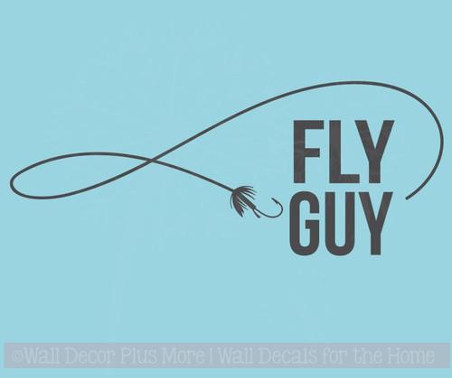 Fly Guy Fishing Wall Stickers Vinyl Art Decals Fisherman Boys Room Decor
