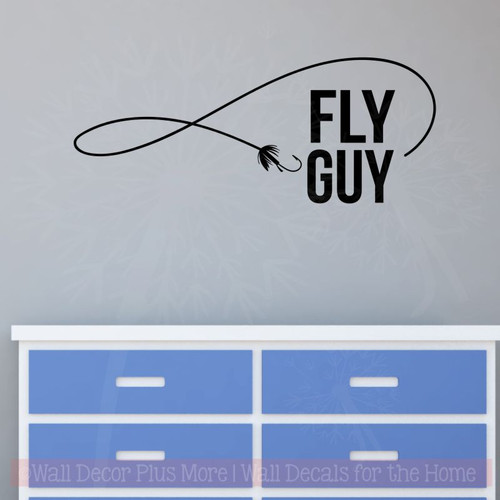 Fly Guy Fishing Wall Stickers Vinyl Art Decals Fisherman Boys Room Decor-Black