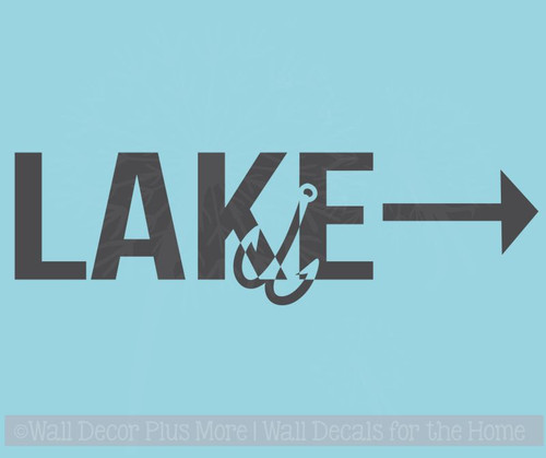 Lake Arrow Hook Vinyl Lettering Stickers Fishing Decor Beach Wall Decals