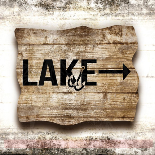 Lake Arrow Hook Vinyl Lettering Stickers Fishing Decor Beach Wall Decals-Black