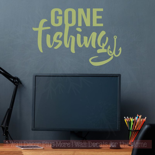 Gone Fishing Wall Art Stickers Vinyl Lettering Decals Fishing Quotes-Olive