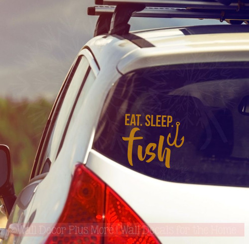 Eat Sleep Fish Fishing Car Decals Fisherman Window Sticker  Vinyl Quote-Glossy Copper