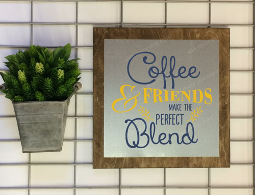 Metal on Wood - Coffee & Friends Perfect Blend Wood Sign Metal with Quote Hanging Wall Art, 3 Sign Choices-Deep Blue, Mustard