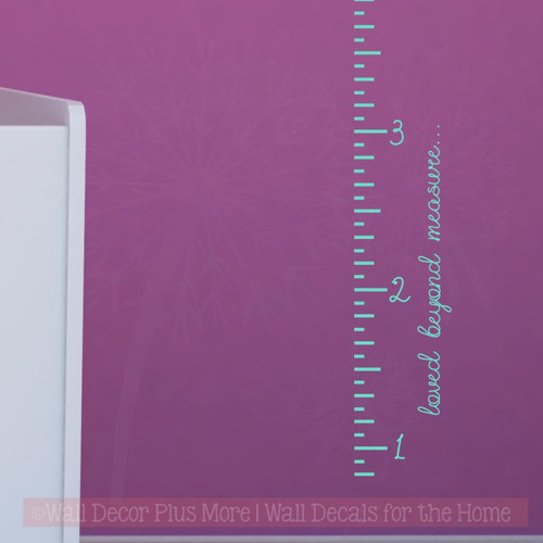 Ruler Growth Chart Loved Beyond Measure Script Nursery Wall Growth Chart-Mint Green