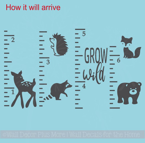 Ruler Growth Chart Grow Wild Forest Animals Measure Height Chart How it will arrive