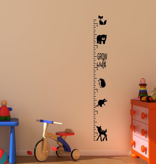 Ruler Growth Chart Grow Wild Forest Animals Measure Height Chart Black