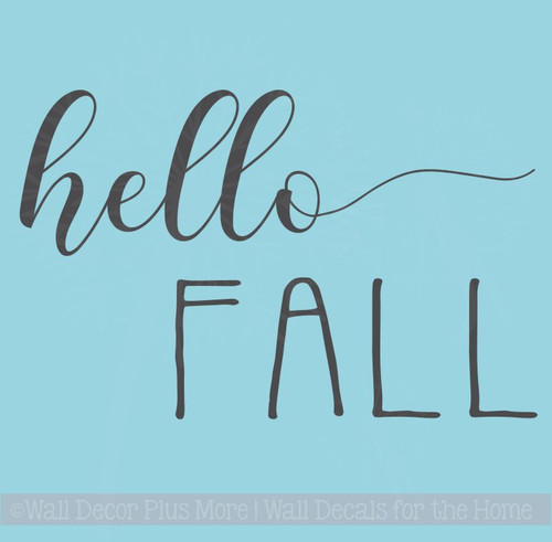 Hello Fall Vinyl Lettering Stickers Wall Art Decals Autumn Home Decor