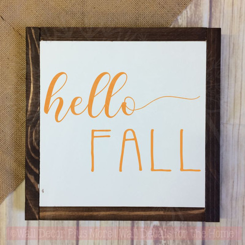Hello Fall Vinyl Lettering Stickers Wall Art Decals Autumn Home Decor-Rust Orange