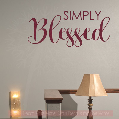 Simply Blessed Fall Home Decor Wall Decals Vinyl Lettering Stickers-Burgundy