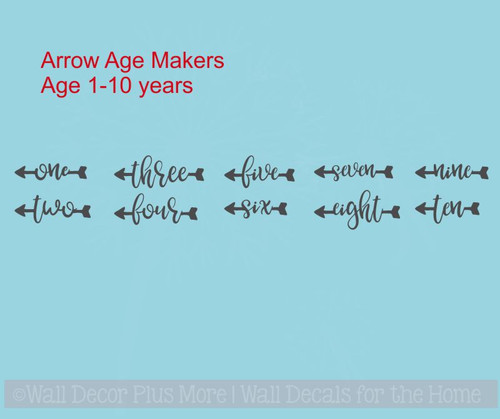 Arrow Age Markers Add-on To Track Growth on Ruler Charts Vinyl Wall Decal