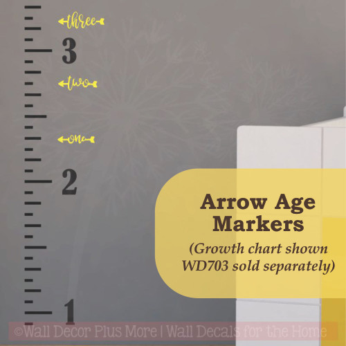 Arrow Age Markers Add-on To Track Growth on Ruler Charts Vinyl Wall Decal-Light Yellow