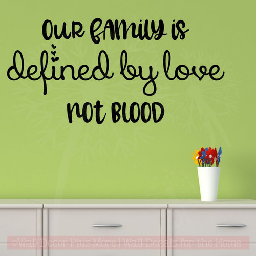 Family Defined By Love Adoption Wall Quotes Vinyl Wall Decal Words-Black