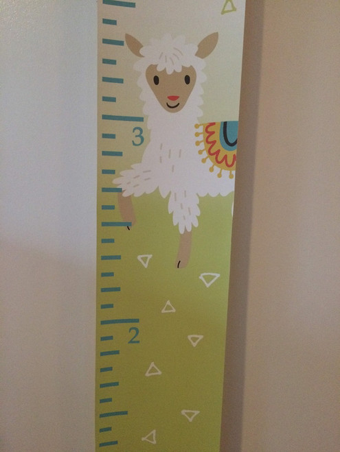 Light Green, White Canvas Print Height Ruler Chart Nursery Wall Hanging