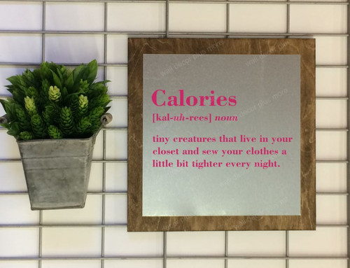 Calories Definition Wood Metal Sign with Quote, Hanging Wall Art, 3 Sign Choices-Hot Pink