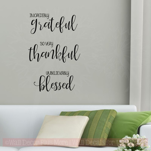 Thankful Fall Decor Wall Quotes Incredibly Grateful Vinyl Letter Decals-Black