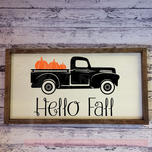 Vintage Pickup Pumpkins Fall Home Decor Vinyl Art Sticker Wall Decals-Black, Orange