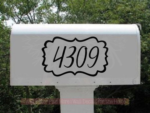 Mailbox Stickers Hand-drawn Bracket Frame Personalized Number Decals-Black