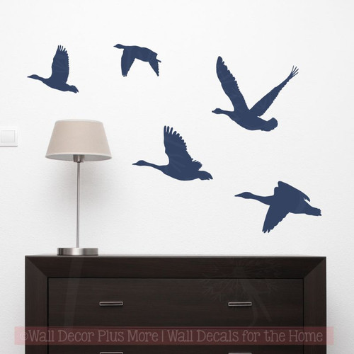 Geese Flying Hunter Wall Decor Vinyl Art Stickers Man Cave Decals-Deep Blue